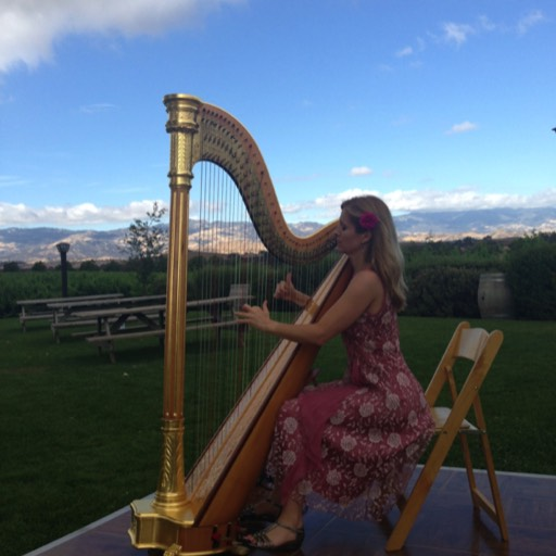 Wedding harpist at Gainey Vineyards, Santa Ynez