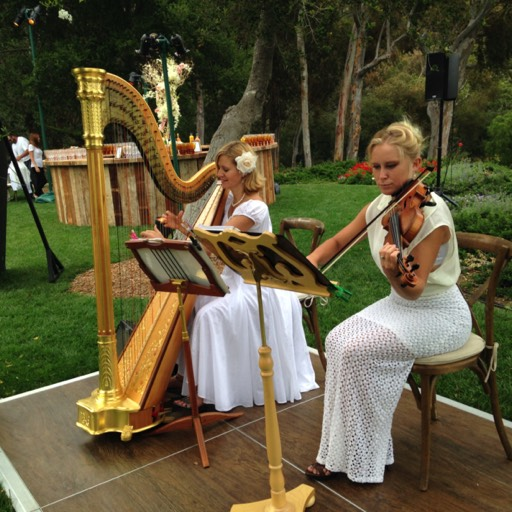 Harp and violin at San Ysidro Ranch wedding