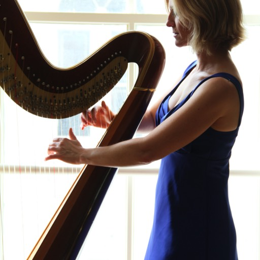 Laurie Rasmussen harpist at Astor Crowne Plaza