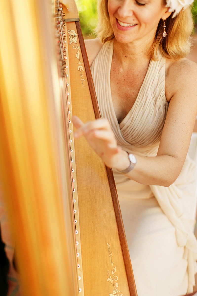 Harpist plays at wedding